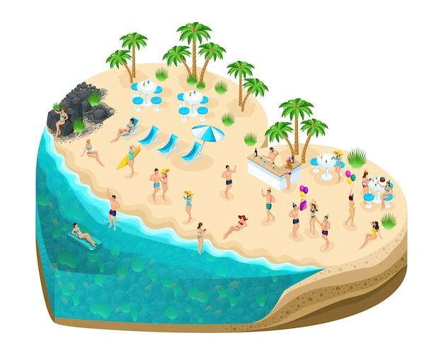 Wyspa isometry w kształcie serca, ludzie wakacyjni bawią się na bajecznej wyspie miłości