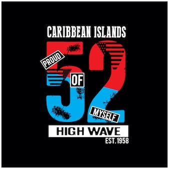 Wyspa karaibska t koszula makiety wektor