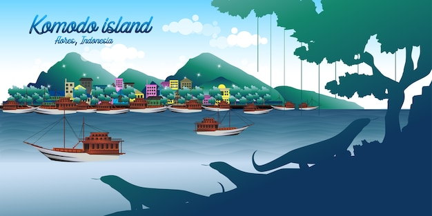 Wyspa komodo w indonezji