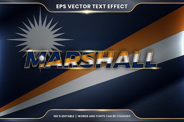 Wyspa marshalla z flagą narodową kraju macha, styl edytowalnego efektu tekstowego z koncepcją koloru złota gradientu
