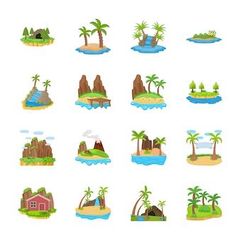 Wyspa sceny wektorowe ikony