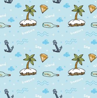 Wyspa skarbów bezszwowe tło w stylu kawaii