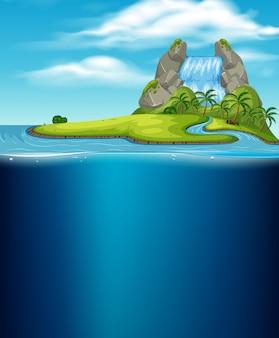 Wyspa wodospadu i podwodne