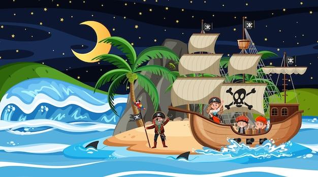 Wyspa ze statkiem pirackim w nocnej scenie w stylu kreskówki