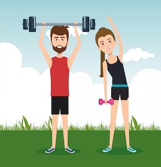 Wysportowani ludzie ćwiczący postacie ćwiczące