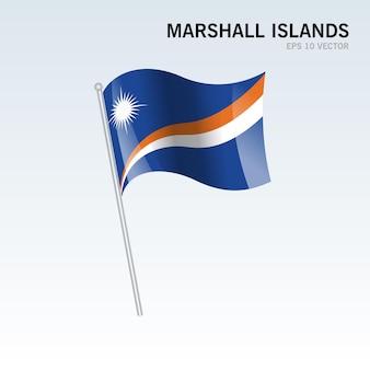 Wyspy marshalla macha flagą na szarym tle
