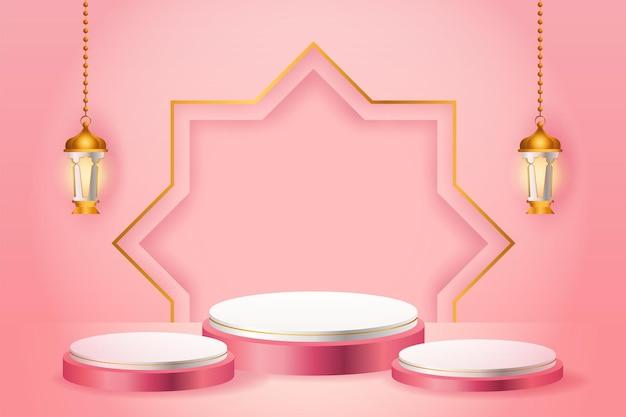 Wystawa produktów 3d różowo-białe podium o tematyce islamskiej ze złotą latarnią na ramadan