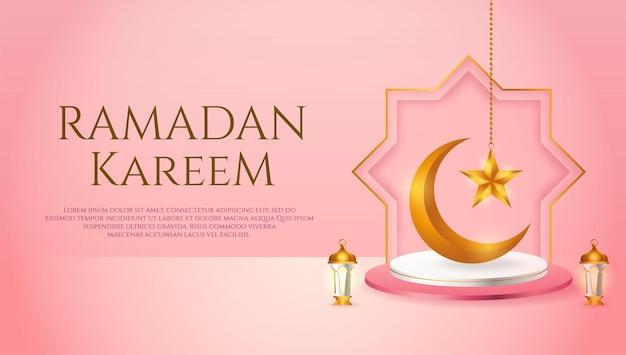 Wystawa produktów 3d w różowo-białym podium o tematyce islamskiej z półksiężycem, latarnią i gwiazdą na ramadan