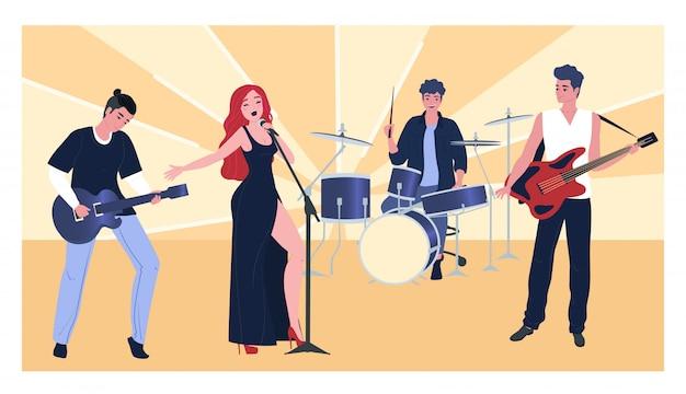 Występ muzyczny, charakter grupy mężczyzn, kobiet, płaskie ilustracja. wokalistka, gitarzysta, basista, perkusista.
