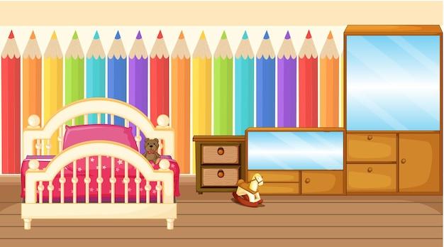 Wystrój sypialni dla dzieci z meblami i tęczową tapetą