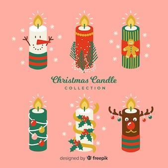 Wystrojony w górze świeca świąteczna kolekcja