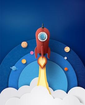 Wystrzelenie rakiety kosmicznej i galaktyka.