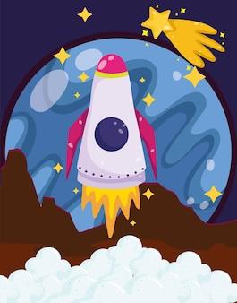 Wystrzelenie rakiety kosmicznej z powierzchni planety strzelająca gwiazda ilustracja kreskówka