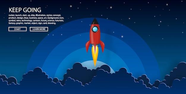 Wystrzelenie rakiety na nocne niebo