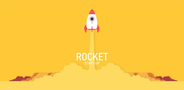 Wystrzelenie rakiety w niebo lecące nad chmurami statek kosmiczny w chmurze pomysł na biznes w kolorze żółtym