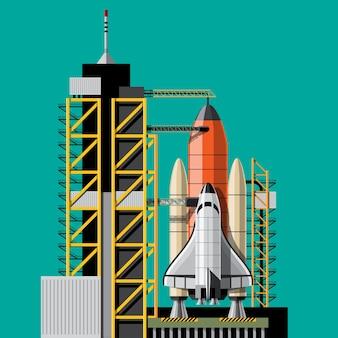 Wystrzeliwane są rakiety, które mają zabrać statek kosmiczny w kosmos. zestaw na białym tle startu rakiety. ilustracja w stylu 3d
