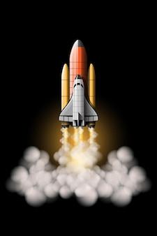 Wystrzeliwane są rakiety, które mają zabrać statek kosmiczny w kosmos. zestaw na białym tle startu rakiety.