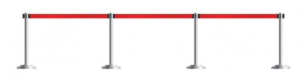 Wysuwany zestaw kłonic paska. płot lotniska na białym tle. bariera przenośna wektor wstążka. taśma szermiercza w czerwone paski.