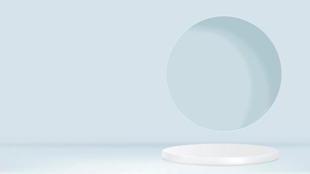 Wyświetl podium renderowania 3d psd minimalne niebieskie tło produktu