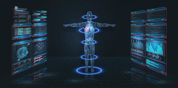 Wyświetlacz head up hud ui, graficzny interfejs użytkownika. futurystyczny wirtualny graficzny nowoczesny interfejs medyczny hud. infografika medyczna. hi-tech, badania zdrowia ludzkiego. skan diagnostyczny, cyfrowe rtg ludzkiego ciała