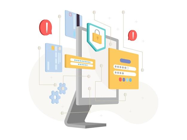 Wyświetlacz komputera i ikony ochrony danych i bezpieczeństwa