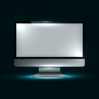 Wyświetlacz komputera. ilustracje kreatywnych dynamicznych elementów świetlnych