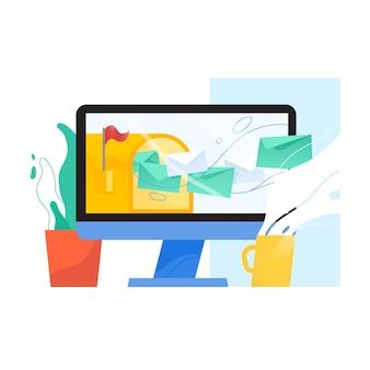 Wyświetlacz komputera z otwartą skrzynką pocztową i wylatującymi z niego listami w kopertach na ekranie, rośliny doniczkowej i kubku.