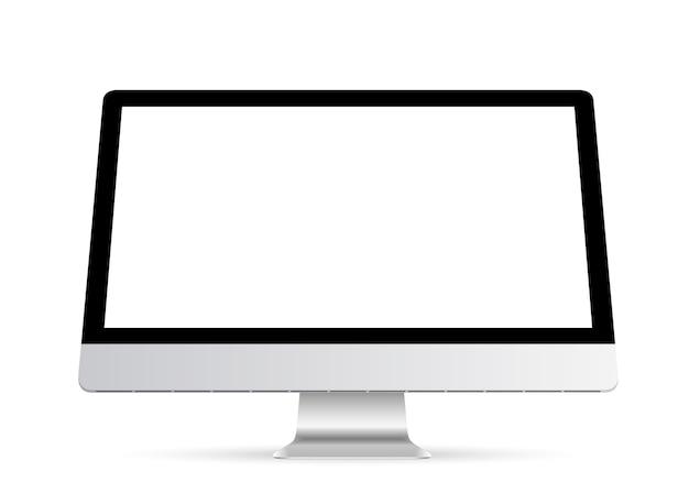 Wyświetlacz komputera z pustym białym ekranem na przezroczystym tle