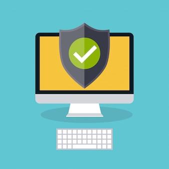 Wyświetlacz komputera z tarczą ochronną. modna płaska ikona. koncepcja ochrony cyfrowej i technologicznej.