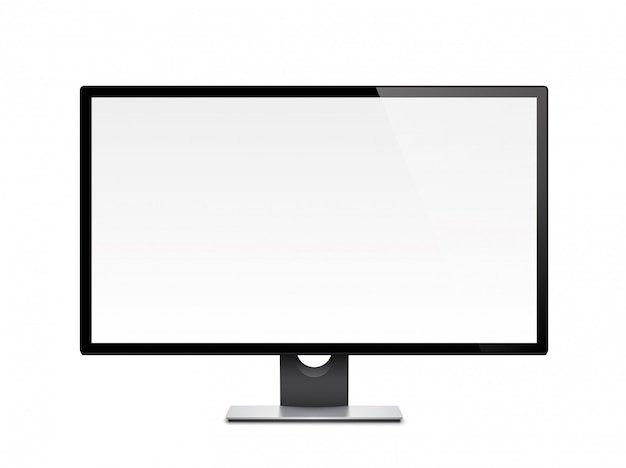 Wyświetlacz komputerowy, monitor, realistyczny, 3d, izolowany