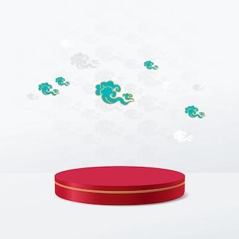 Wyświetlacz podium w kształcie koła z rocznika chińskich chmur
