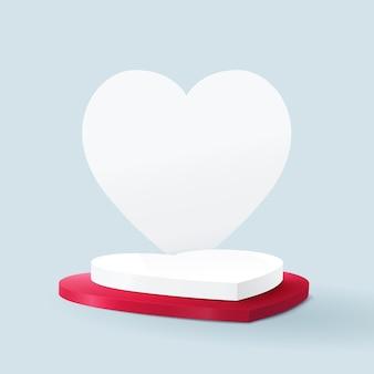 Wyświetlacz podium w kształcie serca na białym tle na niebiesko