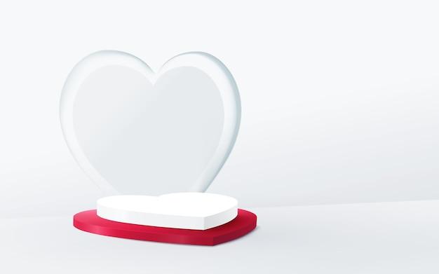 Wyświetlacz podium w kształcie serca na białym tle
