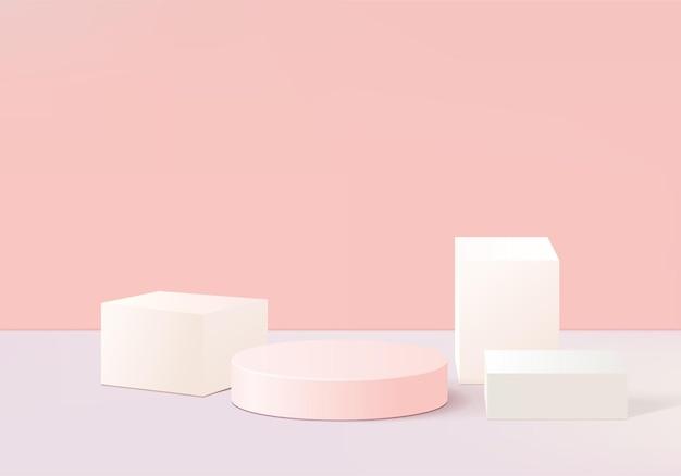 Wyświetlaj abstrakcyjną minimalną scenę produktu z geometryczną platformą podium. renderowania tła cylindra z podium. stojak na produkty kosmetyczne. prezentacja sceniczna na cokole różowym studio