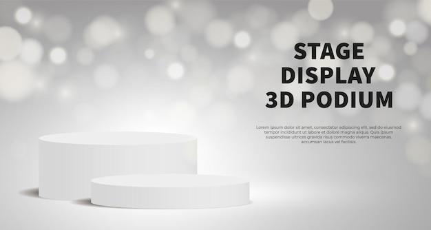 Wyświetlanie produktu wektor 3d render z białym podium. białe tło z geometryczną platformą sceniczną. pomysł na biznes