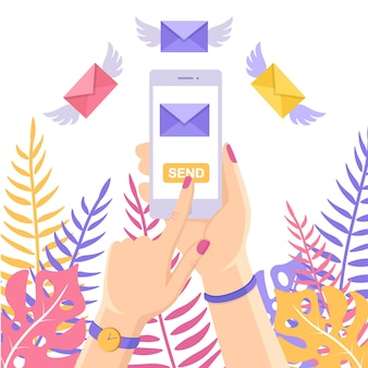 Wysyłaj lub odbieraj sms, list, wiadomość z białego telefonu komórkowego. ludzką ręką trzymać telefon komórkowy. latająca koperta ze skrzydłami