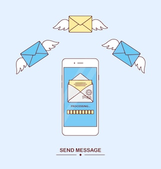 Wysyłaj, odbieraj wiadomości telefonem. powiadomienie pocztą. dostarczanie wiadomości, sms. nowy, przychodzący list. smartfon z aplikacją do obsługi wiadomości tekstowych. latająca koperta. koncepcja mobilnego komunikatora
