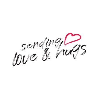Wysyłanie miłości i uścisków w typograficznym wektorze swobodnym dla tych, którzy są daleko od nas