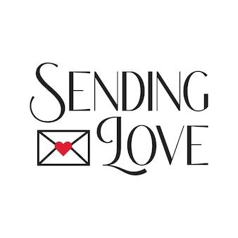 Wysyłanie napisów typografii miłosnej z listami miłosnymi w wektorze swobodnym