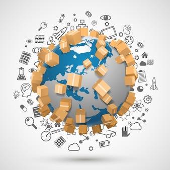 Wysyłanie obiektu na całym świecie, zestaw ikon. ilustracja wektorowa