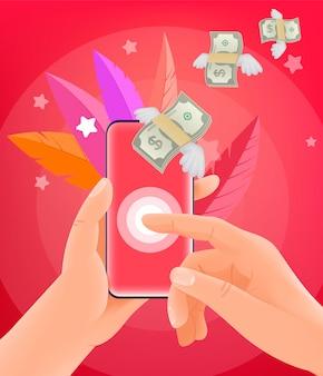 Wysyłanie pieniędzy za pośrednictwem smartfona. mężczyzna trzyma nowożytnego smartphone. modny styl ilustracji