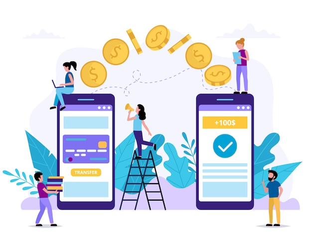 Wysyłanie pieniędzy za pośrednictwem smartfona. wniosek o płatność. mali ludzie wykonujący różne zadania