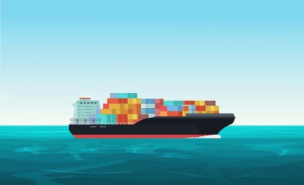 Wysyłanie statku transportowego z kontenerami na oceanie