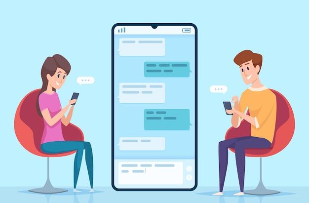 Wysyłanie wiadomości do ludzi. para postaci męskich i żeńskich randki online na czacie bezpieczny dialog na koncepcji smartfona.