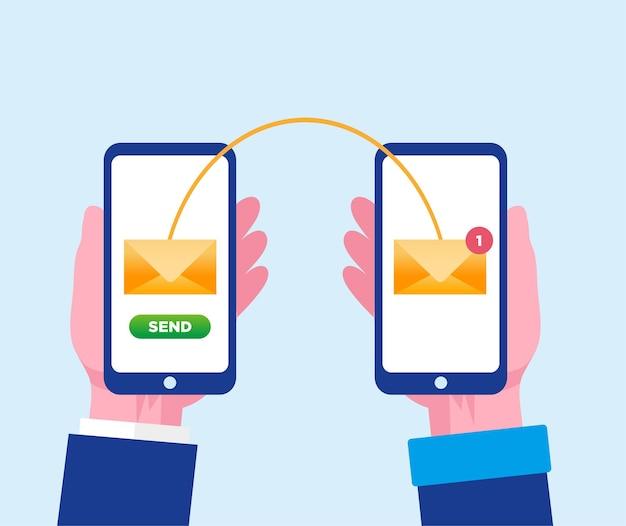 Wysyłanie wiadomości e-mail z banerem ilustracji wektorowych płaskiego smartfona i stroną docelową