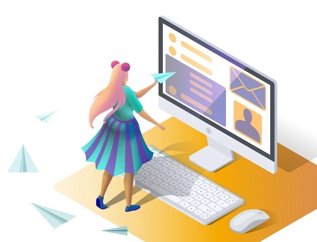 Wysyłanie wiadomości. skrzynka odbiorcza e-mail, elektroniczna