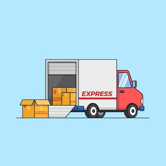 Wysyłka ładunku ciężarówka dostawcza samochód rozładunek i załadunek skrzyni logistycznej ilustracja usługi transportowej