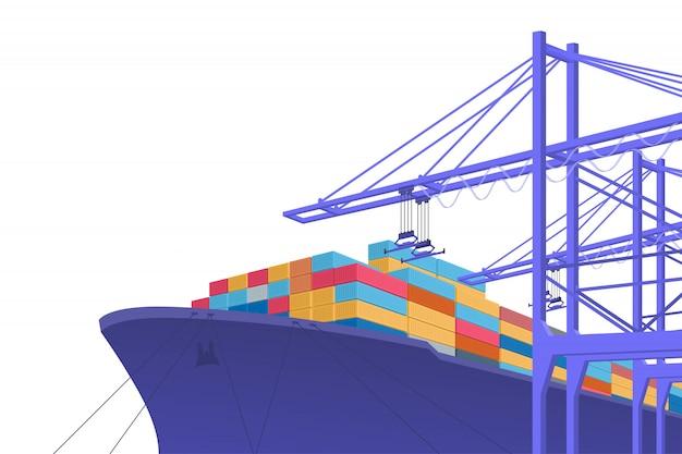 Wysyłka transportu. handel międzynarodowy. projekt graficzny z miejscem na kopię. ilustracja