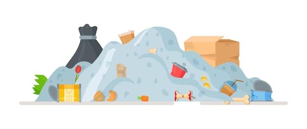 Wysypisko śmieci. ilustracja wywóz śmieci, po sprzątaniu domu i podwórka. recykling w mieście. butelki, torby, pudełka, wieczka, puszki.