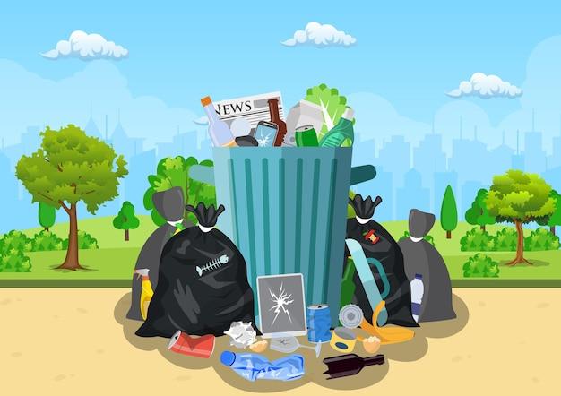 Wysypisko śmieci w parku.
